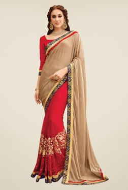 Shonaya Red & Beige Net & Lycra Saree