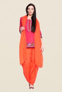Stylenmart Orange Patiala & Dupatta Set