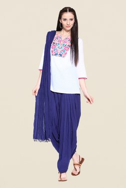 Stylenmart Royal Blue Patiala & Dupatta Set