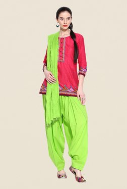 Stylenmart Green Patiala & Dupatta Set