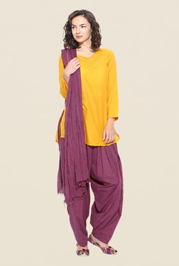 Stylenmart Wine Solid Patiala & Dupatta Set