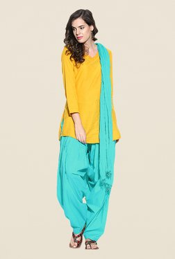 Stylenmart Turquoise Solid Patiala & Dupatta Set