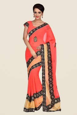 Shonaya Coral Georgette Chiffon Embroidered Saree