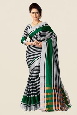 Shonaya Grey & Green Cotton Silk Saree