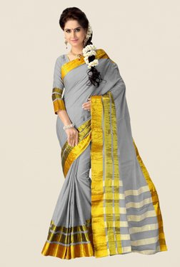 Shonaya Grey & Gold Cotton Silk Saree
