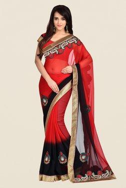 Shonaya Red & Black Georgette Saree