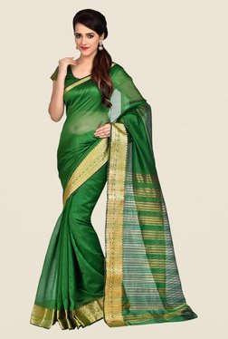 Shonaya Green Banarasi Art Silk Solid Saree