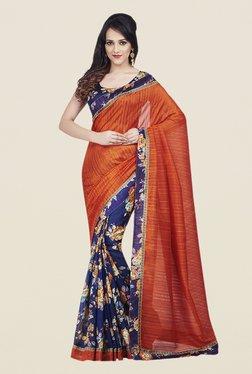 Shonaya Orange & Blue Bhagalpuri Art Silk Saree
