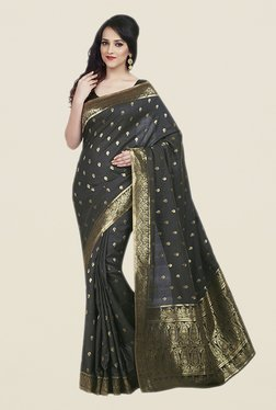 Shonaya Black Poly Cotton Saree