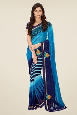 Shonaya Blue & Sky Blue Georgette Saree
