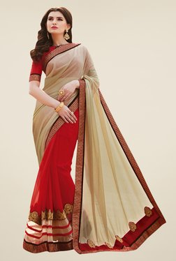 Shonaya Red & Beige Georgette & Lycra Saree