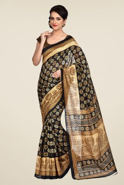 Shonaya Black & Beige Bhagalpuri Art Silk Saree