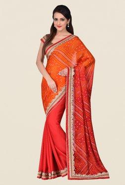 Shonaya Red & Orange Georgette Saree