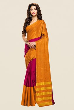 Shonaya Mustard & Purple Cotton Silk Printed Saree