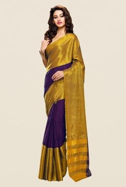 Shonaya Purple & Gold Cotton Silk Printed Saree