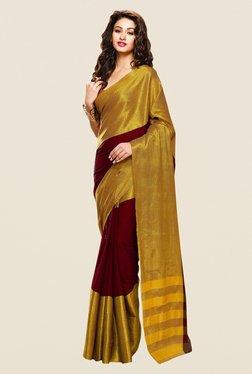 Shonaya Maroon & Gold Cotton Silk Printed Saree