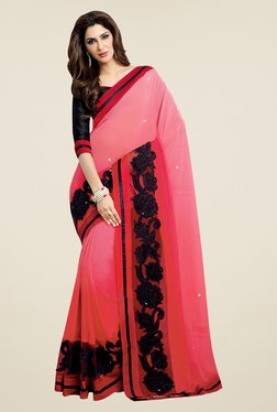 Shonaya Pink & Black Georgette Padding Embroidered Saree