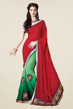 Shonaya Red & Green Faux Georgette Printed Saree