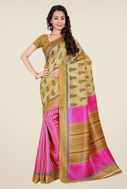 Shonaya Beige & Pink Bhagalpuri Silk Printed Saree