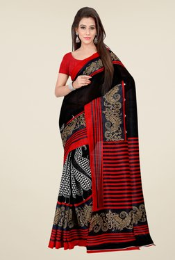 Shonaya Black & Red Bhagalpuri Silk Printed Saree