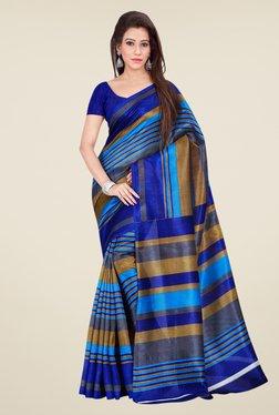 Shonaya Blue & Beige Bhagalpuri Silk Striped Saree