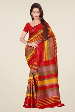 Shonaya Red & Rust Bhagalpuri Silk Striped Saree