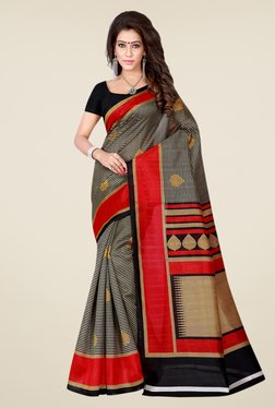 Shonaya Black & Red Bhagalpuri Art Silk Printed Saree
