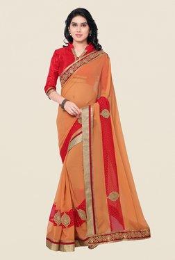 Shonaya Orange & Red Georgette Embroidered Saree