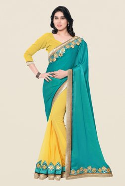 Shonaya Yellow & Turquoise Satin Chiffon & Georgette Saree