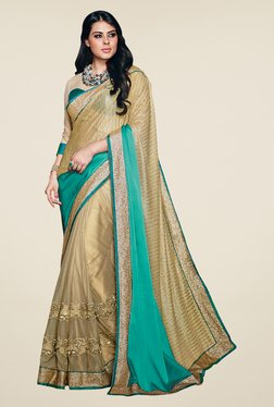 Shonaya Gold & Green Net Satin Georgette & Lycra Saree