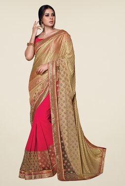 Shonaya Gold & Pink Georgette & Lycra Embroidered Saree
