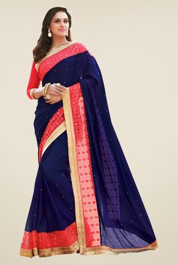 Shonaya Navy & Pink Satin Embroidered Saree