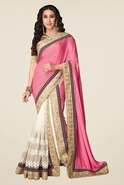 Shonaya Pink & Gold Net & Chiffon Embroidered Saree