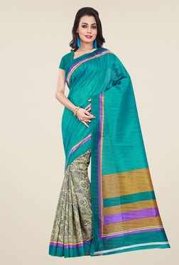 Shonaya Teal & Beige Bhagalpuri Silk Floral Print Saree