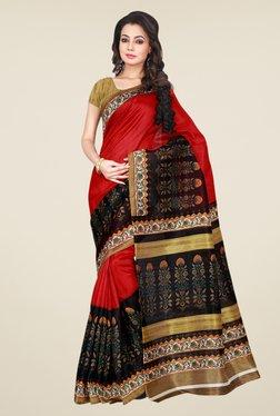 Shonaya Red & Black Bhagalpuri Silk Printed Saree