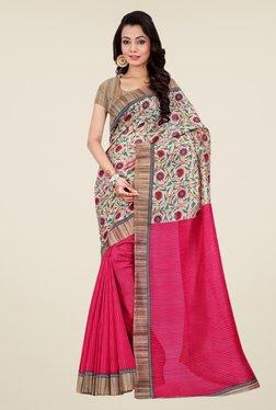 Shonaya Pink & Beige Bhagalpuri Silk Floral Print Saree