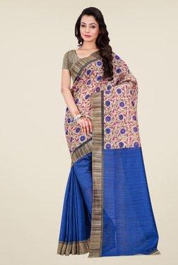 Shonaya Blue & Beige Bhagalpuri Silk Floral Print Saree