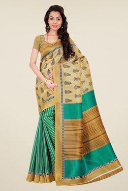Shonaya Beige & Green Bhagalpuri Silk Printed Saree