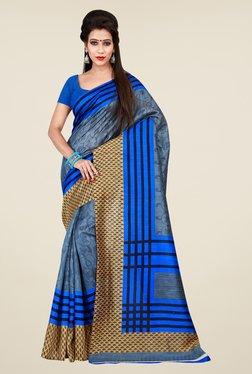 Shonaya Blue & Beige Bhagalpuri Art Silk Printed Saree
