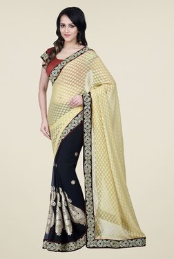 Shonaya Beige & Navy Chiffon Jacquard Printed Saree