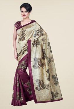Shonaya Beige & Purple Bhagalpuri Silk Floral Print Saree
