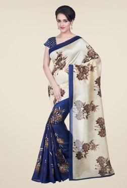 Shonaya Beige & Navy Bhagalpuri Silk Floral Print Saree