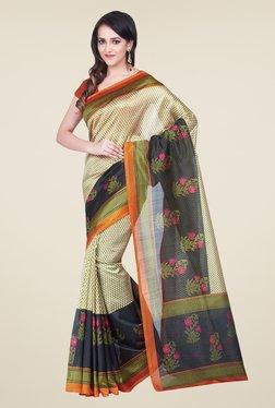 Shonaya Beige & Rust Bhagalpuri Silk Printed Saree