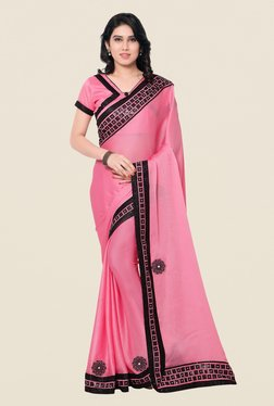 Shonaya Pink Satin Chiffon Embroidered Saree