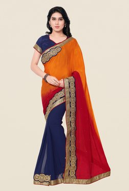 Shonaya Navy & Yellow Chinnon & Georgette Embroidered Saree