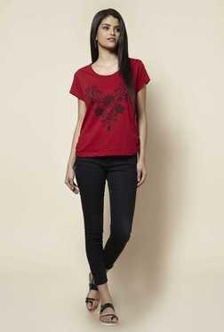 Zudio Red Floral Print T Shirt