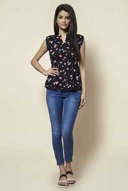 Zudio Navy Floral Print Blouse - Mp000000000389315