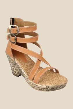 Niremo Beige Ankle Strap Wedges