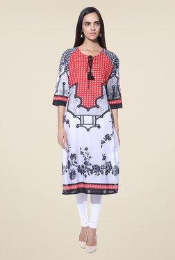Shree Grey & Red Printed Cotton Kurta