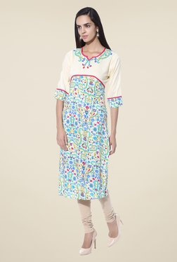 Shree Cream & Blue Floral Print Rayon Kurta